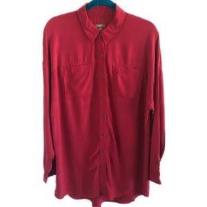 J. JILL red button down tunic top M
